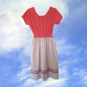 1980s vintage coral rainbow dress size medium 6 8